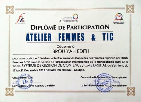 mon diplôme de participation à l'atelier Femmes et TIC drupal