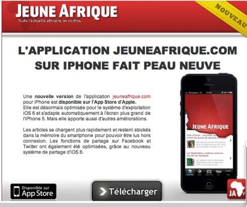 application mobile iOS jeune afrique