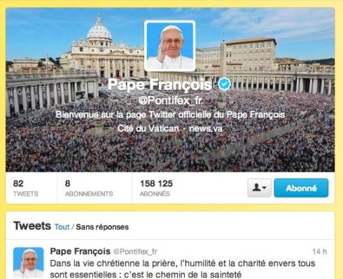 Profil Twitter pape François
